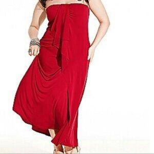 Lane Bryant Red Strapless Maxi Jersey Dress 14/16